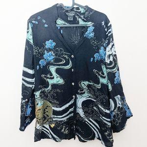 Citron Santa Monica Silk Ocean Wave Floral Shirt